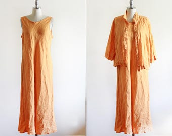 Vintage linen Dress Set / Dress and Jacket  / Linen Market Dress / Modern Minimal / M L