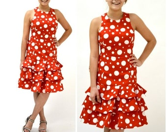 Sale 15% off 80s does 50s Vintage Party Dress Red Polka Dots by Lillie Rubin// 80s Red Prom Dress Red and White Polka Dot Dress with Ruffles