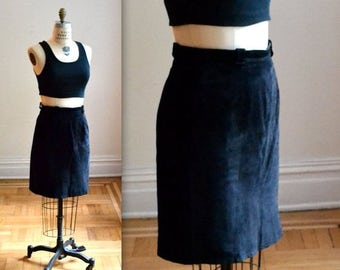 ON SALE Vintage Black Leather Skirt Size Medium 90s Black Suede Skirt