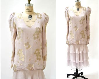 Vintage Silk Dress Medium Pink Pastel Metallic Ruffles Flapper Inspired Silk by Judy Hornby Couture for I. magnin