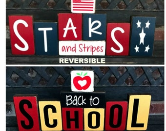 Sale--Reversible Summer & Back to school blocks-Back to School reverses with Stars and Stripes