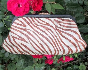 Vintage Leather Zebra Clutch with Swarovski Crystals by Calderon 1980's