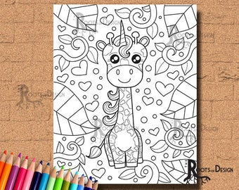 INSTANT DOWNLOAD Coloring Page - Giraffe-a-corn Print, doodle art, printable