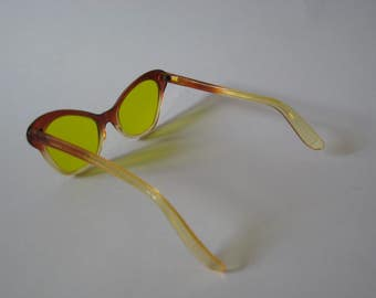 Very rare Nighthawk West Germany vintage plastic sunglasses bright yellow amber cateye