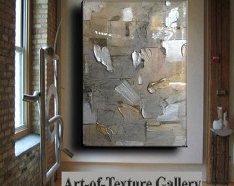 Resin Glass Large Original Abstract Texture Modern Silver Pewter Copper Metal Leaf Sculpture Carved Impasto Knife Oil Painting by Je Hlobik