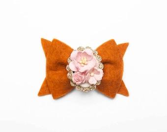 Pumpkin || Floral Cameo || Hair Clip or Headband