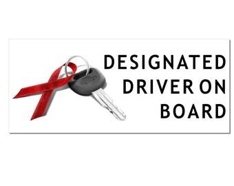 DESIGNATED DRIVER On Board December Drunk Driving Prevention Window or Bumper Sticker