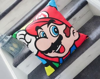 Nintendio mario, character cushion, Mario pillow, kids gift idea, stocking filler, mothers day