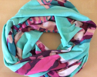 Jersey knit infinith scarf - aqua with pink patterned chevron
