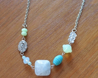 Seaside Collage Necklace, Vintage Repurposed, Faceted Glass Beads