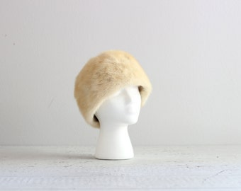Vintage Winter Hat . Tan Fur Hat . 60s 1960s Womens Hat