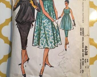 RARE 1950's Mccalls Sewing Pattern 4638 Misses Maternity Blouson Top, Pencil Skirt, & Dress Size 14 cut- 1950's maternity pattern, maternity
