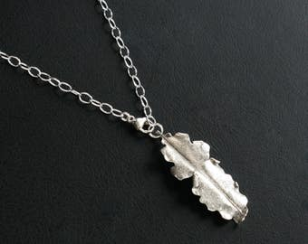 Silver Leaf Organic Pendant Necklace Sterling Silver Botanical Nature Inspired