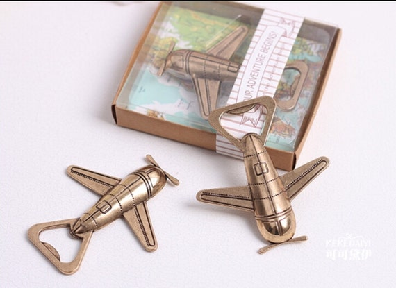 Airplane Clear Favor Boxes : Set of vintage airplane bottle opener favors let the