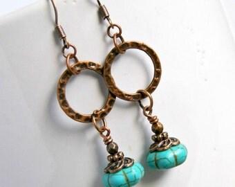 turquoise earrings, copper, drop and dangle earrings, rustic, boho chic, bohemian