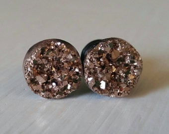 Rose Gold Crystal Plugs for Gauged Ears, sizes 00g, 0g, 2g, 4g, 6g, earrings, 10mm, 8mm, 6mm, 5mm, 4mm, One (1) Pair