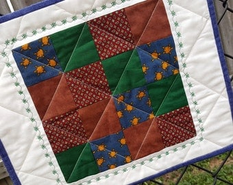 Quilted Patchwork Place Mats, Snack Mats or Mini Quilts Rustic Country Western Perfect for a breakfast table for two