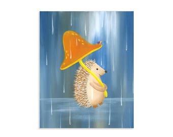 Hedgehog in the Rain - Whimsical Woodland Art Print