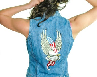 Vintage Harley Davidson Denim Vest Harley Denim Vest Zipper Front Punk Rock Heavy Metal Motorcycle Biker Denim Jacket Eagle Battle Jacket S