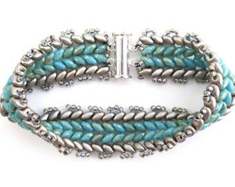 Turquoise blue and silver chevron beadwork bracelet, Czech glass woven beaded bracelet in Picasso-style with sterling silver magnetic clasp