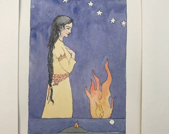 Original watercolor-The Beautiful Tamar- armenian tale- painting with frame
