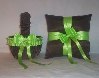 Chocolate Brown Satin With Apple Green Ribbon Trim Flower Girl Basket And Ring Bearer Pillow Set 2