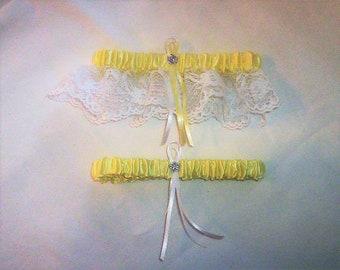 Light Yellow Satin / White Lace - 2 Piece Wedding Garter Set - 1 To Keep / 1 To Throw