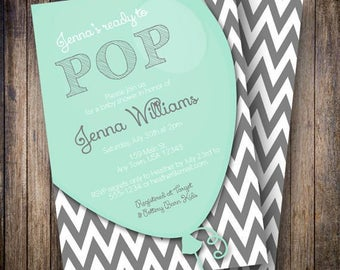Balloon Baby Shower Invitation, Balloon Baby Shower Invite, Printable Balloon Baby Shower Invitation - Ready to Pop in Soft Teal and Gray