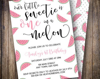 One in a Melon Party, Watermelon Birthday Invitation, Watermelon Party, Calligraphy, Summer Birthday Invite, Pink, Green, Black