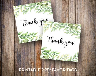 "Boho Favor Tags, Eucalyptus, 2.25"" Square Tags, Thank You Tags, Gift Tags, Green, Digital Download, Printable Tags, 904"