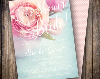 Let's Shower the Bride Invite, Pink Peony Bridal Shower Invite, Shabby Chic, Rustic Bridal Shower, 905