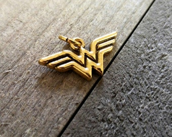 Wonder Woman Charm DC Comics Charm Antiqued Gold Charm Super Hero Charm Licensed PREORDER