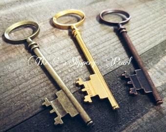 Big Keys-Large Skeleton Key-Bronze Key Pendants Gold Skeleton Key Lot Assorted Keys-80mm 3 inch Keys Old Fashioned Keys Large Key Pendants