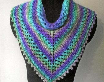 Purple Turquoise Green Grey Cowl, Kerchief Cowl, Handspun Dyed Knit Scarf, Buff, Lacy Neckwarmer, Knitted Alpaca Merino Silk Neckwarmer