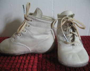 Charming White Leather Baby Shoes, Doll Shoes
