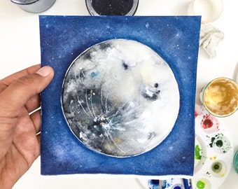 Watercolor Moon Art Print. Full Moon Art. Luna. Watercolor Painting. House Warming Gift under 20.