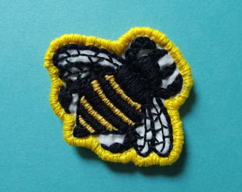 """Bumblebee handmade embroidered 2"""" patch"""