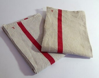 2 Vintage French Kitchen Towels or Torchons with Red Stripes on Linen ...