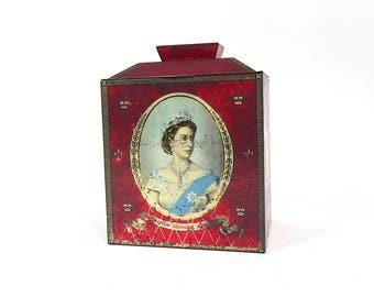 Vintage English Royal Commemorative Biscuit Tin Tea Caddy 1953 Coronation of Q. Elizabeth