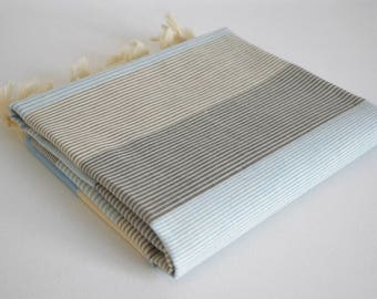 NEW / SALE 70 OFF/ Turkish Beach Bath Towel Peshtemal / Blue - Gray / Wedding Gift, Spa, Swim, Pool Towels and Pareo