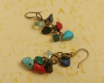 Multi Gemstone Chips with Antiqued Gold Plated Brass Accents Dangle Earrings