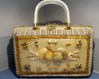 Vintage Princess Charming, Wicker, Atlas ,Sea Shell, purse,Summer handbag,60's pocketbook