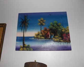 Vintage Tiki decor, Tropical oil painting, Tropical Island art, Signed oil on canvas
