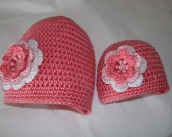 Doll Hat with matching girl hat set with triple flower trim - Choose a matching set for this price