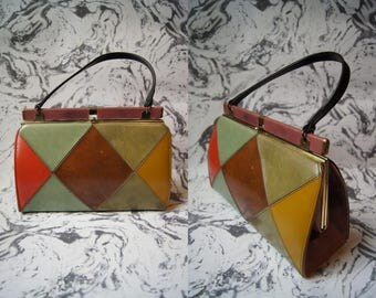 Vintage 60's Harlequin Leather Bag Top Handle Purse Mod Handbag Mustard Yellow Leather Purse Olive Green Small Bag 60's Purse Leather Purse