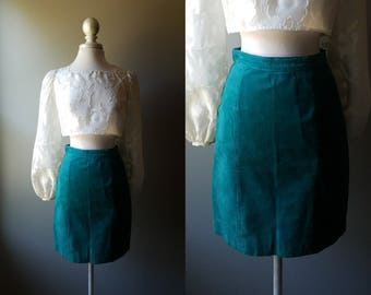 Vintage 70's Teal Leather Skirt Suede Skirt Green Leather Hippy Boho Skirt Bohemian Hippie Size 6 Small Coachella Pencil Skirt Mod Twiggy