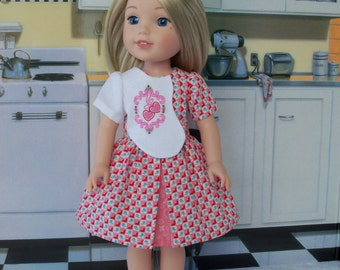 """Pleated Dress and Shoes for American Girl Doll 14"""" Wellie Wishers® / Doll Clothes for Wellie Wishers®"""