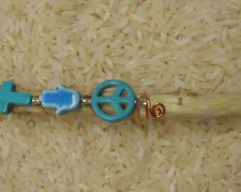 Follow your Peace Faerie Wand/Copper wrapped Wand with Quartz Crystal Tip/Shell Star/Howlite Cross/Glass Hamsa/Turquoise Peace sign