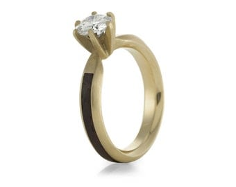Wood Ring Engagement Ring, 9ct Yellow Gold and Moissanite