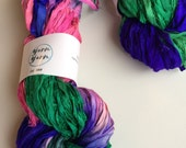 Silk sari ribbon, 5 yards, moonwalk. Tie dyed ribbon yarn. knitting ribbon, art yarn, sari yarn. Knitting, jewellery making and more.